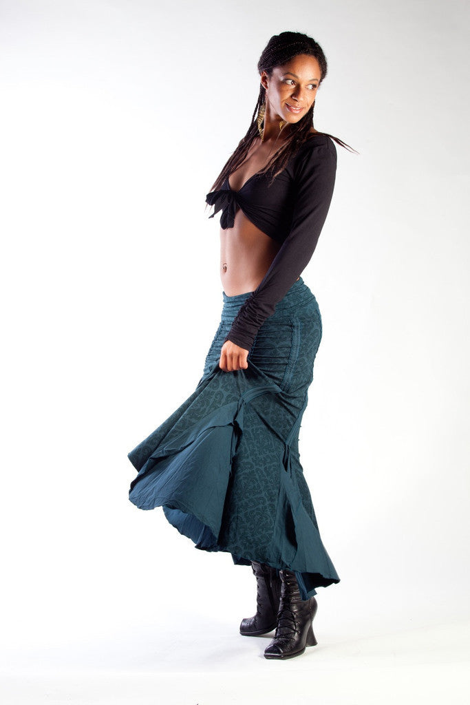 Our teal tribal gypsy Flamenco Skirt will be your favorite dance skirt