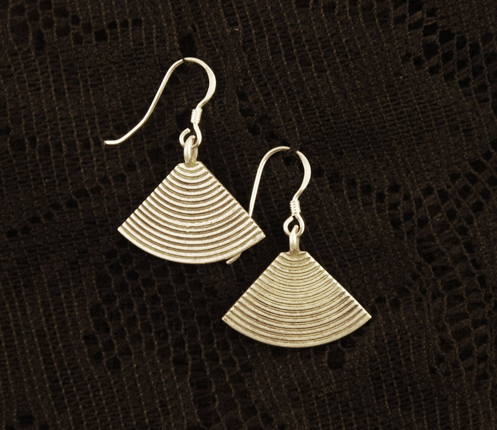fan, cone, silver drop earrings