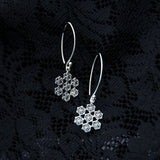 spiritual christmas gift for her, flower of life silver earrings