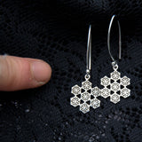 snowflake earrings, sacred geometry, silver flower of life