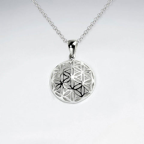Spiritual Gift for her, flower of life charm pendant, silver yoga jewelry, sacred geometry necklace