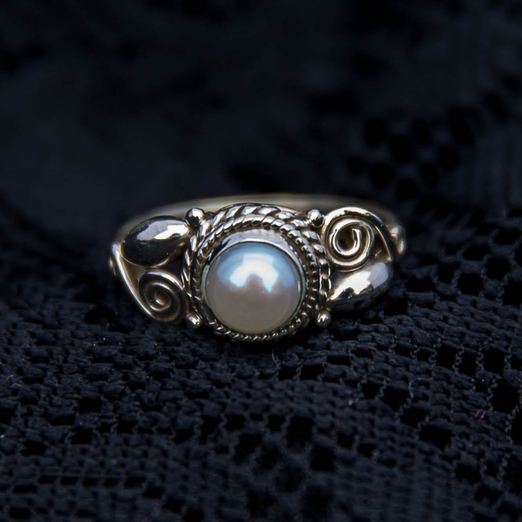 Sterling silver and pearl tribal ring