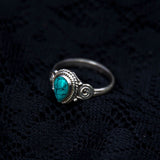 sterling silve, ring, blue stone