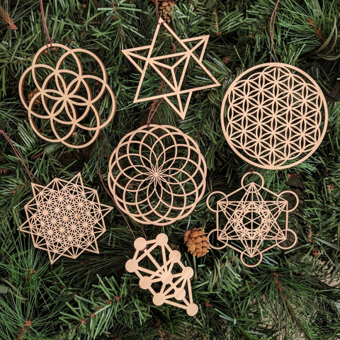 Sacred Geometry Ornaments - Set of Seven (one free)