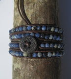 Blue Sodalite Beaded Wrap Bracelet