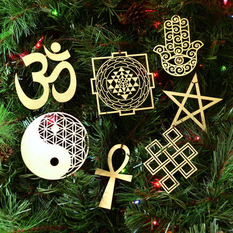 Sacred Symbol Ornaments - Set of Seven (one free)