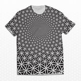 sacred geometry mens yoga t-shirt tee with flower of life print in black and white