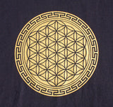 mens eco friendly cotton yoga tee with sacred geometry flower of life mandala