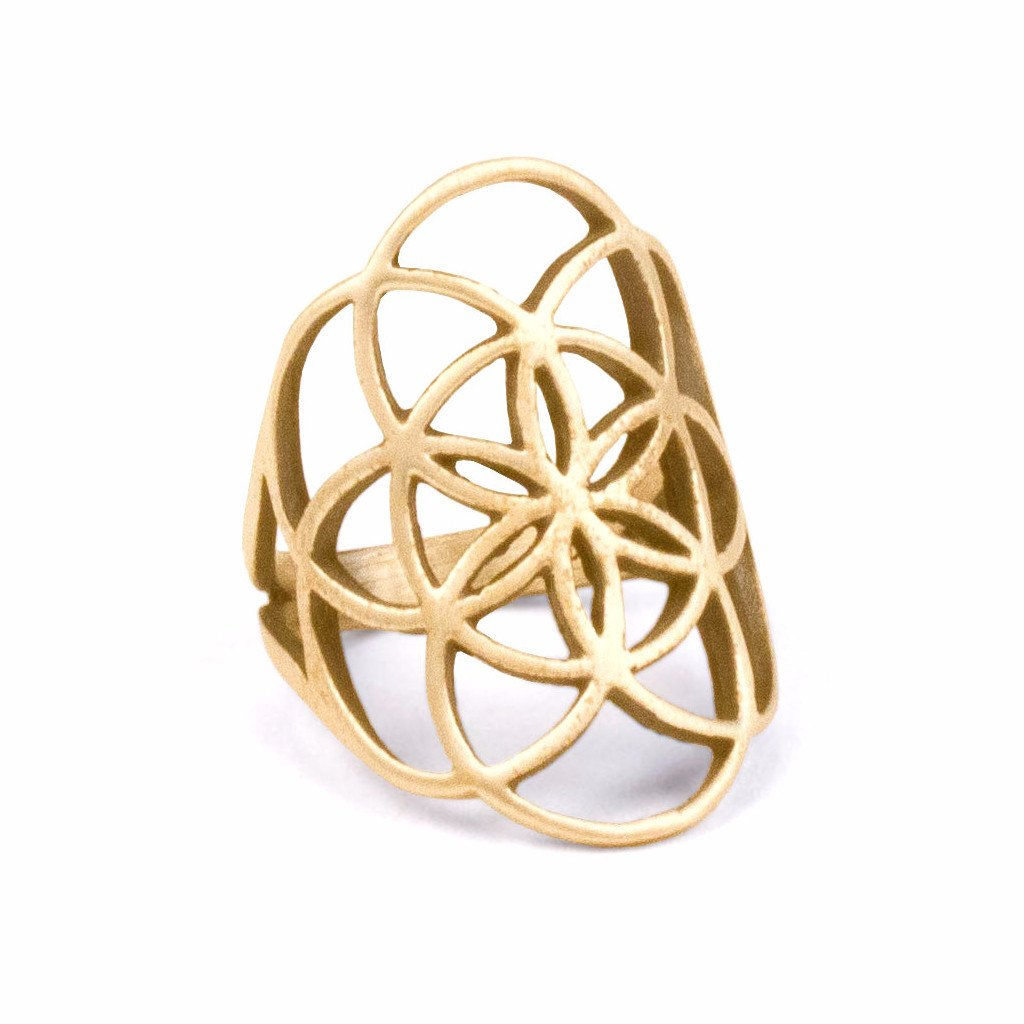Gold Plated Seed of Life Ring  Sacred Geometry Gold Flower Of Life Ring  Spiritual Mandala  Gold Promise Ring SALE R401
