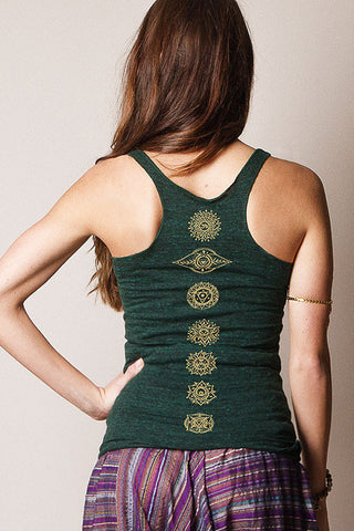 womens cotton yoga tank top with gold chakras symbols by sivana