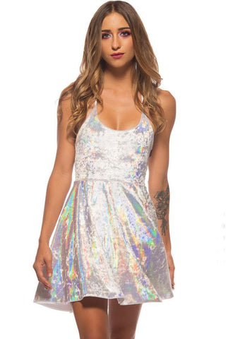 irridescent skater dress for festival dancing, rave or just fun by Little Black Diamond