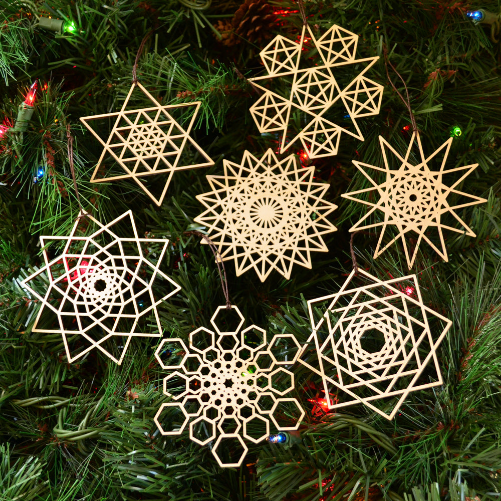 Star Fractal Ornaments - Set of Seven (one free)