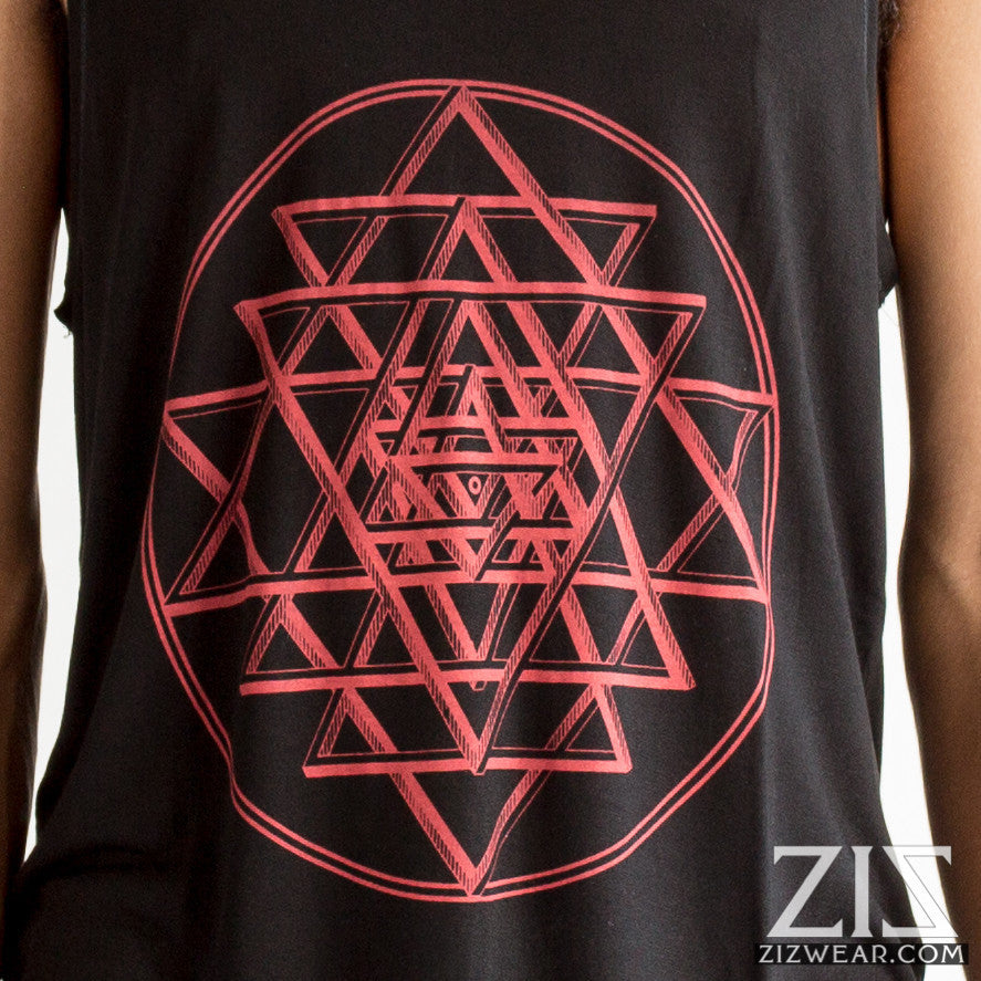 Sri Yantra Tank Top - black & red