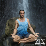 mens geomorph organic bamboo yoga surfer tank top - blue