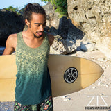 mens geomorph organic bamboo yoga surfer tank top - jade green by zizwear