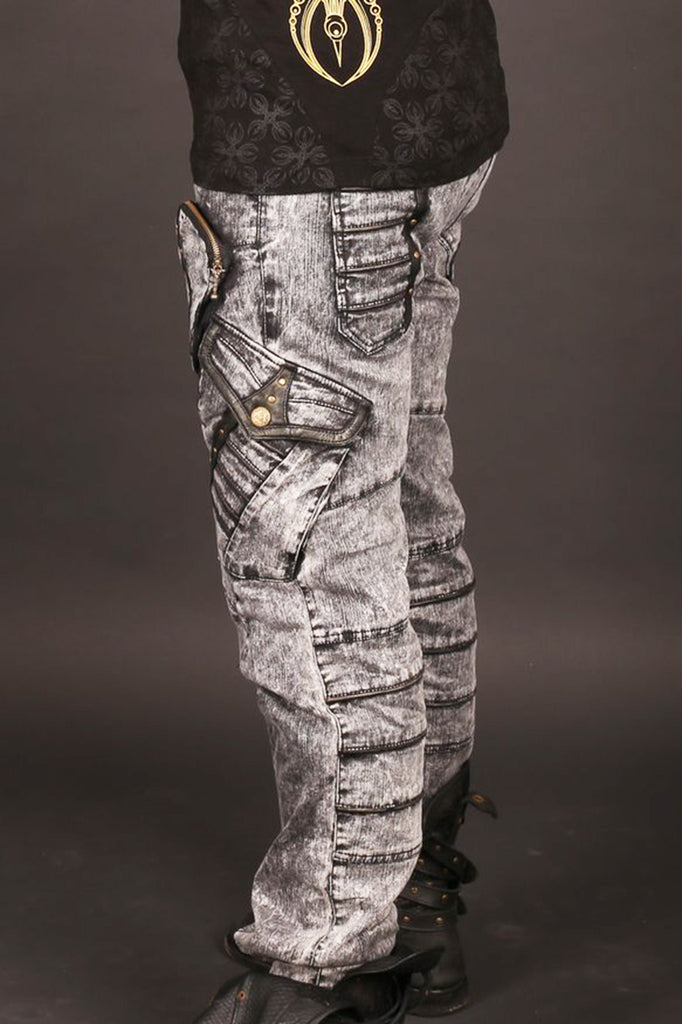 Chiseled Pants - grey acid wash