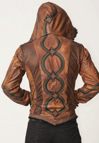 mens rainbow serpent burner style leather jacket