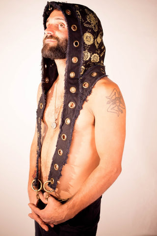 artisan made festival hood with grommets, chains and golden sacred geometric print vy anahata designs