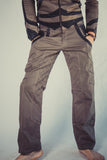 newatu mens burner style festival cargo pants in denim with leather applique