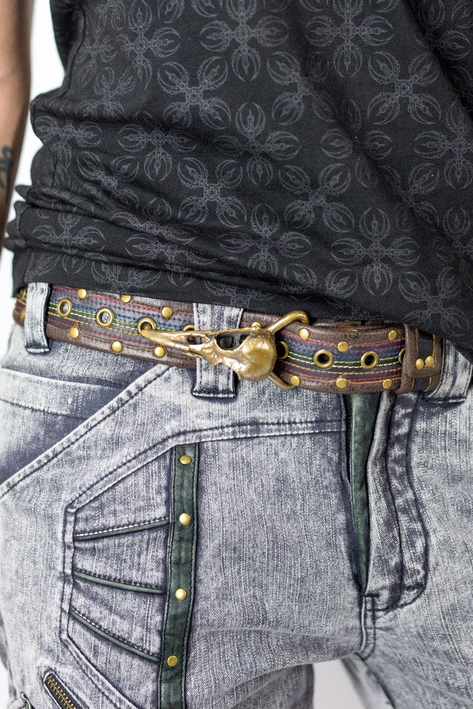 Anahata Belt - Rainbow design with Star Lotus or Old Crow Buckle
