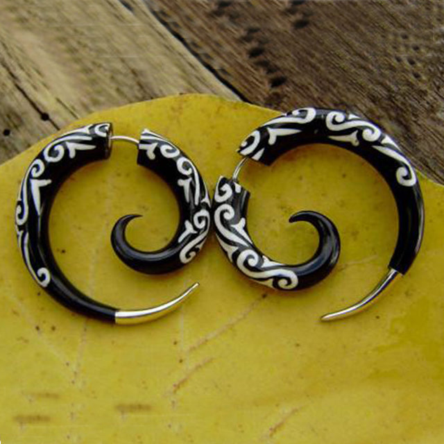 Black Bone Rings with White Designs