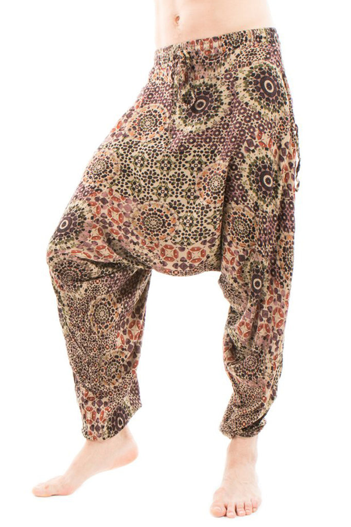 low crotch harem dance pants by buddha pants - mandala brown print