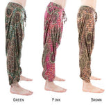 low crotch harem dance pants by buddha pants - mandala pink print