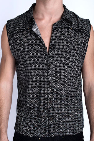 Black Willow Sleeveless Button Shirt
