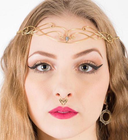 Folk Bridal Tiara, Fairy Pixie Bohemian Head piece, Priestess Head chain