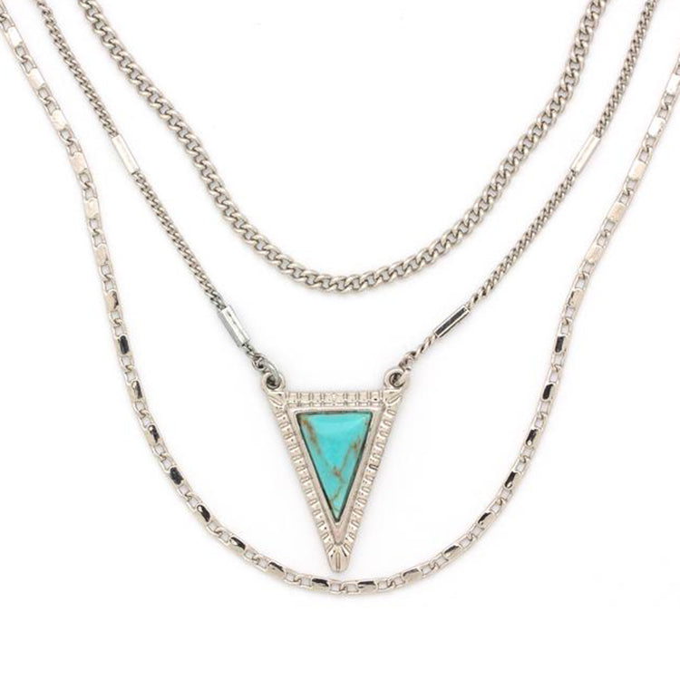 Trio Necklace in Silver & Turquoise