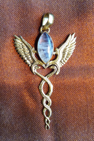.Caduceus Pendant--Brass with Rainbow Moonstone