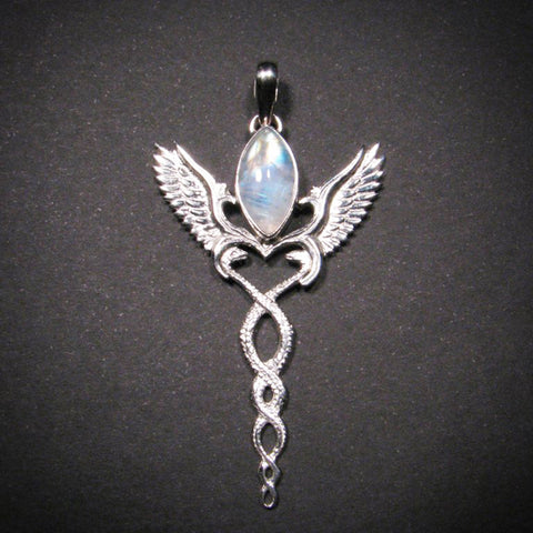 Caduceus pendant silver and moonstone festival fire fashion caduceus pendant silver and moonstone mozeypictures Image collections