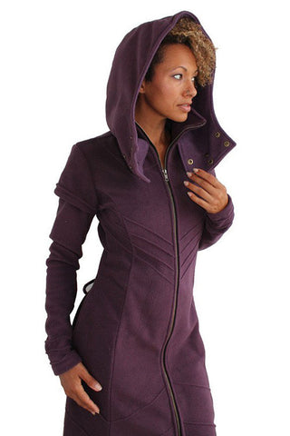 full length womens hooded fleece winter coat