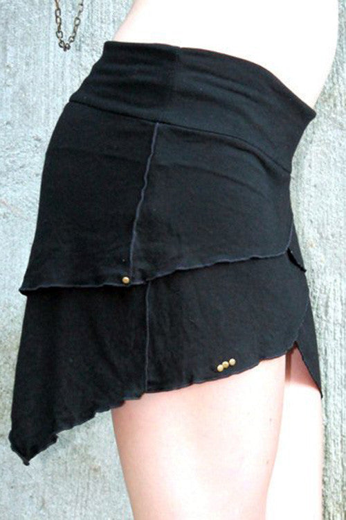 a layered fairy style festival skirt mini with pointed panels in organic bamboo