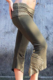 a beautiful pair of womens screen printed capri yoga pants with ornamental waist band and design