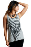the best ever tribal style loose fitting cottton yoga tank top with aztec print