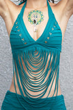 the best gypsy style festival bikini top for hot sun with studs and strings, awesome colors and details