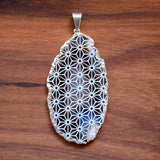 Asanoha Engraved Agate Geode Crystal Pendant - blue