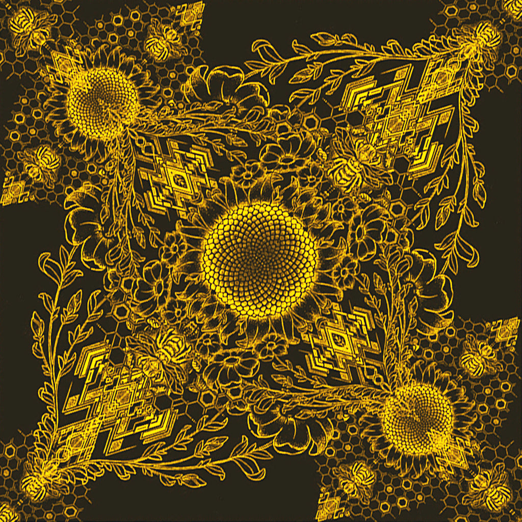 Bee Sunflower Bandana - colors - crystal infused ink