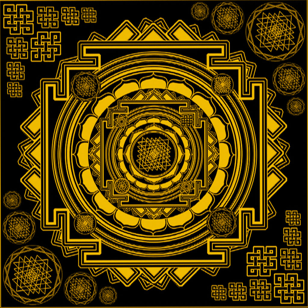 Sri Yantra Bandana- colors - crystal infused ink