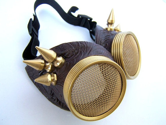 Brass Spiked Steampunk Goggles