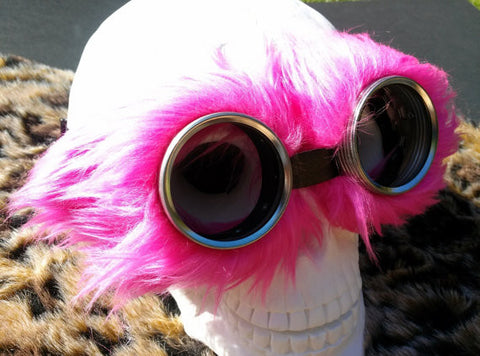Faux Fur Goggles - Neon Pink