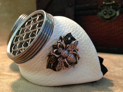 Antique White Leather Steampunk Goggles with Honey Bee Emblem