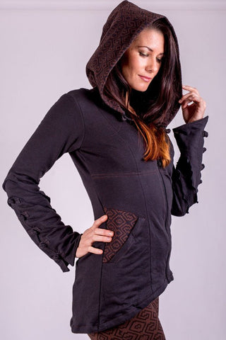an EMF protective jacket for women, in cotton terry with hood, button cuffs, zip front and more.