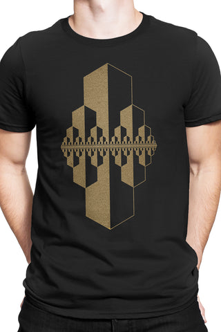 Gold Fractal Boundary T-shirt
