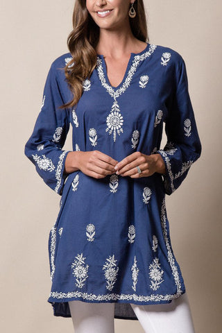 a deep blue bohemian style indian cotton tunic with white embroidery