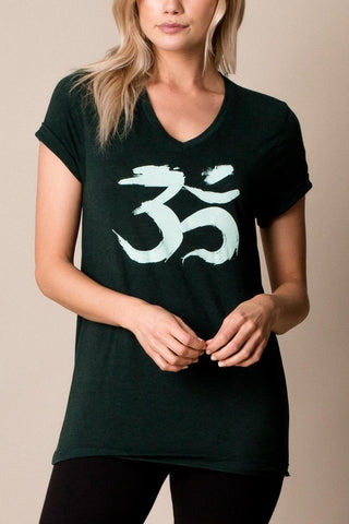 womens boho style, tunic length, brushed om v-neck yoga t-shirt