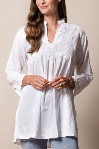 womens bohemian style white indian cotton summer tunic top with white embroidery, fair trade, handmade