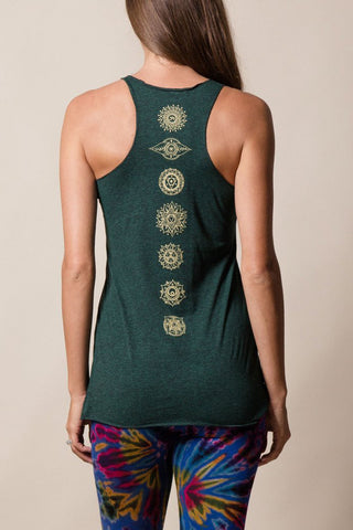 womens cotton yoga tank top with golden chakras symbols by sivana spirit
