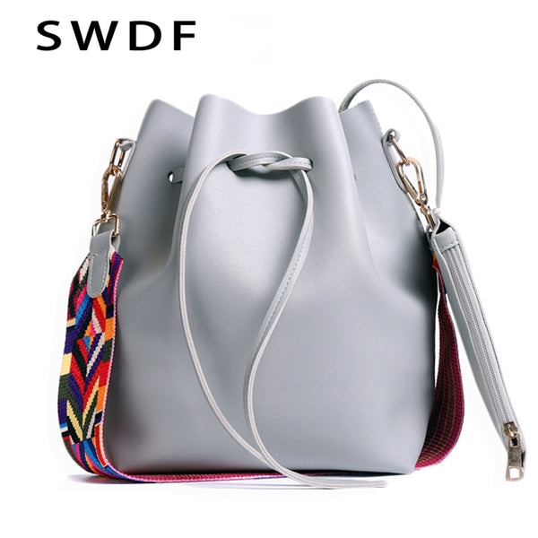 2019 Women PU Leather Shoulder Bag Designer Ladies Crossbody messenger Bag Women bag with Colorful Strap Bucket Bag
